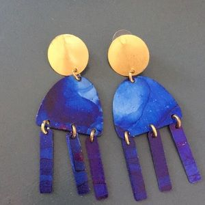 Anthropologie painted blue earrings